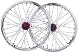 MGE 20 Pulgadas Plegable Bicicleta BMX Juego de Ruedas de la Rueda de la Bicicleta de Doble Capa de aleación Llantas de Disco/V- Brake QR 7-10 Velocidad 32H Rueda de Bicicleta (Color : White)