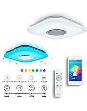 Chysongoo Led-plafondlamp, met luidspreker en bluetooth-luidspreker, verstelbare afstandsbediening, kleurverandering, binnenverlichting voor keuken, slaapkamer, balkon en woonkamer
