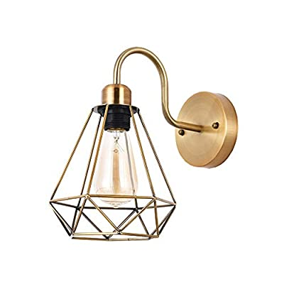 CASILVON 13 Inch Farmhouse Metal Cage Brass Gold Industrial Wall Sconce, Wall Lamp with Mounted Light Fixture for Home Decor Living Room Bedroom Bathroom Vanity Hallway Bar 1 Pack