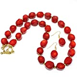 Natural Red Coral Gemstone Necklace Jewelry Set with Earrings
