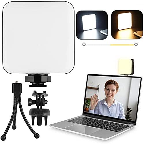 CreBeau - Kit de iluminación para ordenador portátil, con clip y soporte, luz de anillo para cámara web para reuniones de zoom, trabajo a distancia, maquillaje, fotografía, vlogging