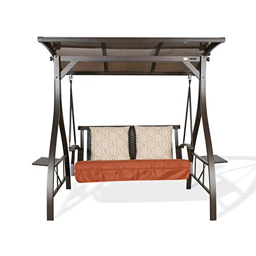 Ulax Furniture 2-Seat Outdoor Porch Swing Patio Hammock Swing Glider Bench with Convertible Hardtop Board Canopy, Solar LED Light and Sunbrella Pillows