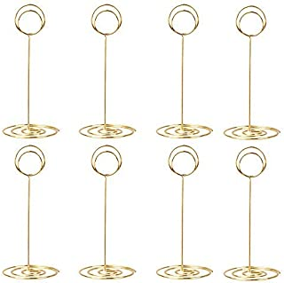 10 Pack 8.75 inch Tall Table Number Holders Place Card Holder Table Picture Holder Wire Photo Holder Clips Picture Memo Note Photo Stand (Gold)