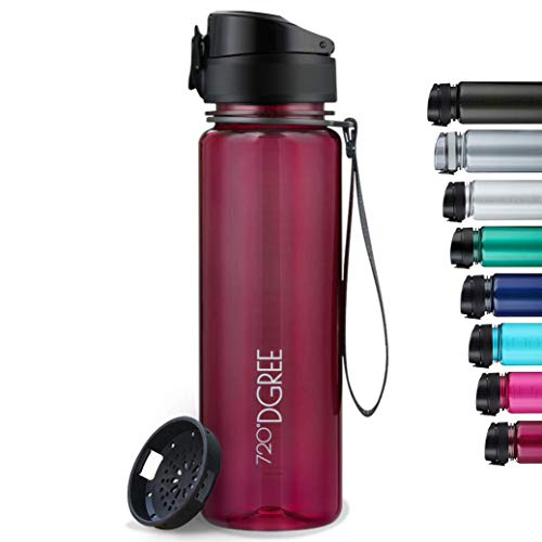 """720°DGREE Trinkflasche """"uberBottle"""" crystalClear +Sieb - 500 ml - BPA-Frei, Auslaufsicher - Für Kinder, Schule, Sport, Fitness - Schmale Wasserflasche aus Tritan - Leicht, Bruchsicher, Nachhaltig"""