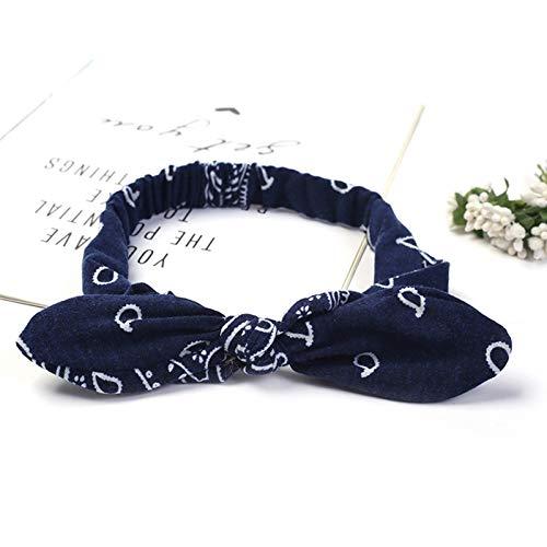 Accessoires pour Cheveux Bandeau de Fil de Mode pour Femmes Turban Turban Bandeau de Turban Femme Girl Bow Turban Cheveux Bandeau d'accessoires Mode (Color : Flower Navy Blue)