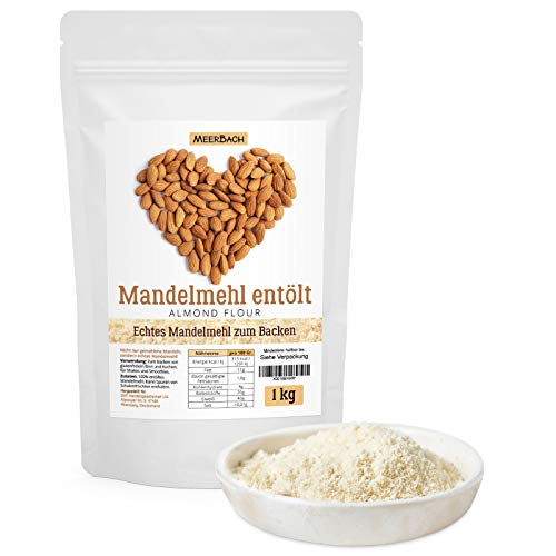 Mandelmehl entölt • echtes Mandelmehl zum Backen • vegan und glutenfrei • 1kg proteinreiches Almond Flour aus spanischen Mandeln