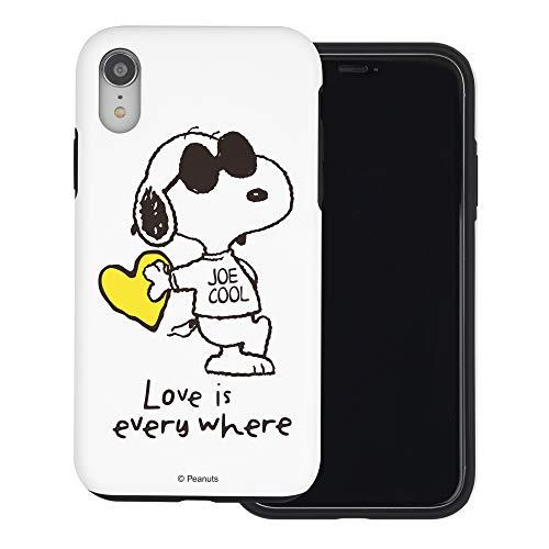 iPhone XS Max ケース と互換性があります Peanuts Snoopy ピーナッツ スヌーピー ダブル バンパー ケース デュアルレイヤー 【 アイフォンXS Max 】 (スヌーピー な愛 黄) [並行輸入品]