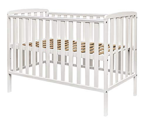 Kinder Valley Havana Solid Pine Wood Slatted 3 Position Height Baby Cot White 120x60cm with Kinder Flow Mattress