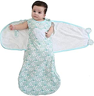 KQIANQUE Baby Sleeping Bag Swaddle Sack Wearable Blanket,Cotton,6-12 Months (Green)