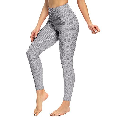 SotRong Damen Yoga Hosen Nahtlose Push Up Bauch Kontrolle Gym Workout Fitness Leggings Damen Sportswear Grau S