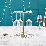 VonShef Porte-Verre à Vin Métallique Couleur Or Brossé — Présentoir pour 4 Verres à vin — Accessoire de Bar — Centre de Table — Excellente idée Cadeau