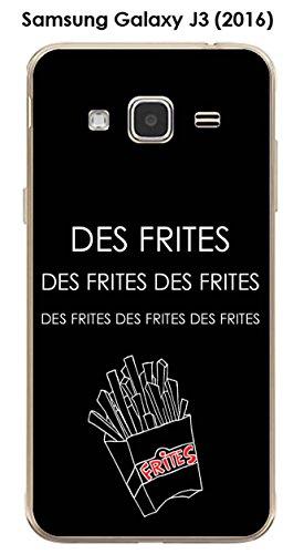 Cover in TPU gel morbida per Samsung Galaxy J3 (2016), motivo: citazione delle patatine fritte, testo bianco sfondo nero