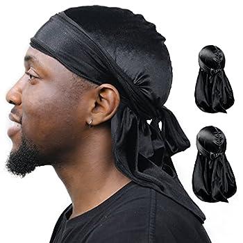 YANIBEST Velvet Durag for Men 2 Pack Soft Velvet Fabric Extra Long Tail and Wide Straps Headwraps for Women Men 360 Waves