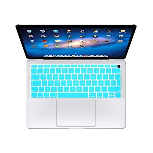 Keyboards Para Apple para MacBook For Air 13 13.3 pulgadas A1932 2018 Touch Fingerprint Keyboard Protector Cover Skin Protectora Español Eu Teclado-Blanco-Azul