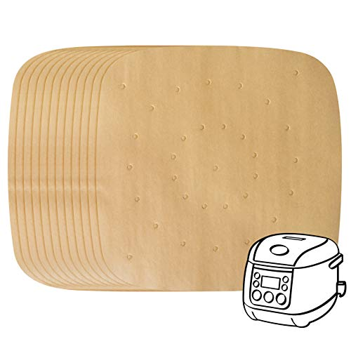 200 Pack Air Fryer Parchment Paper - 7.5 Inches Square Air Fryer Liners Steaming Parchment Liner Perforated Parchment for Air Fryer Streamer Pans Dumplings Fish and Dim Sum Brown(7.5 In Available)