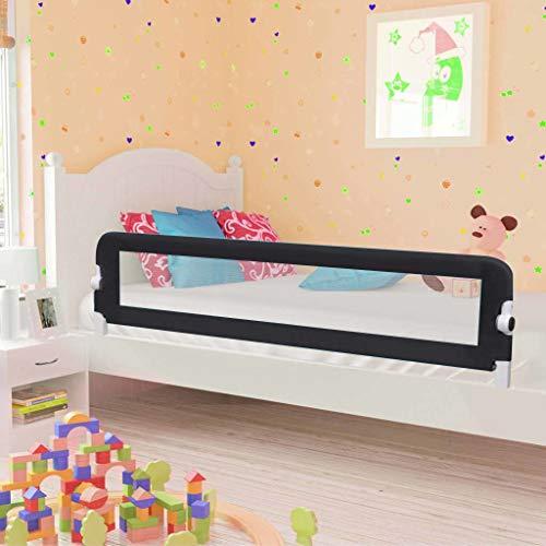 1st Safety Bettschutzgitter, Bettgitter Rausfallschutz beim Schlafen Klappbar passend für Baby-Kinder-Eltern-Bette (180 * 42cm, Schwarz)