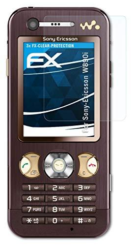 atFolix Schutzfolie kompatibel mit Sony-Ericsson W890i Folie, ultraklare FX Bildschirmschutzfolie (3X)