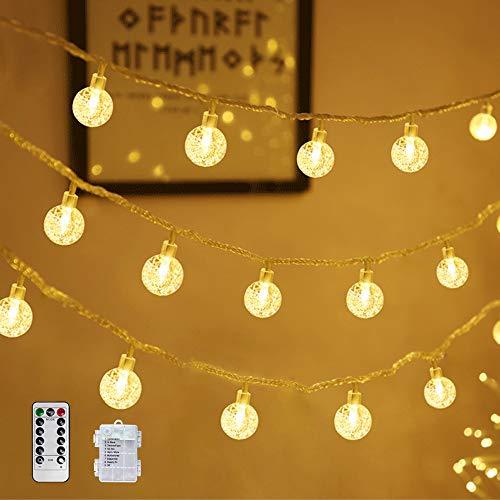 80 Leds Globe Lichterkette, Eruibos 10M Lichterkette Batterie mit Fernbedienung 8 Modi Wasserdicht Außen Innen Ideal für Weihnachten, Party, Garten, Hochzeit, Balkon, Deko[Energieklasse A+++]