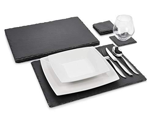 Sänger Schieferplatten Set Dinner 8 teilig | Komplettes Platzset aus Schiefer mit Untersetztern | 40x30 cm und 10x10 cm | Naturstein Platten für das etwas andere servieren