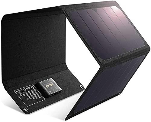 Caricabatterie Solare da 28W con Doppia Porta USB, Pannello Solare Impermeabile Pieghevole, Caricabatterie da Camping e da Viaggio Compatibile con iPhone XS Max XR X 8 7 Plus, iPad, e Molti Altri