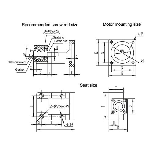 Asiento de rodamiento de motor, hierro fundido Soporte de motor Materiales de calidad Material de tornillo de bola