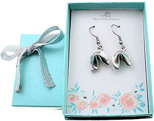 Fortune cookie earrings in silver pewter. Fortune cookie earrings. Fortune cookie gifts. Fortune cookie Jewelry.