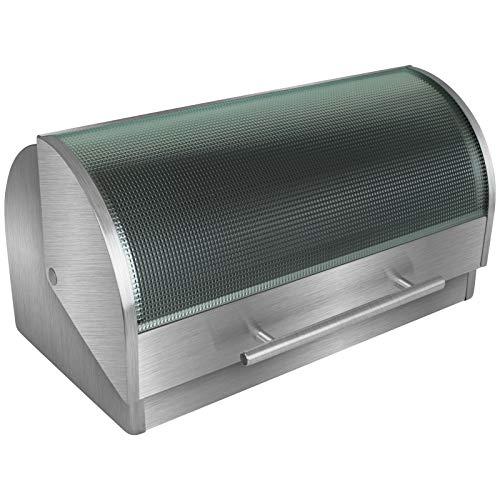TW24 Brotkasten mit Klappdeckel aus Glas mit Farbwahl Brotbox Brotbehälter Brotkiste Brot Aufbewahrungsbehälter (Transparent)