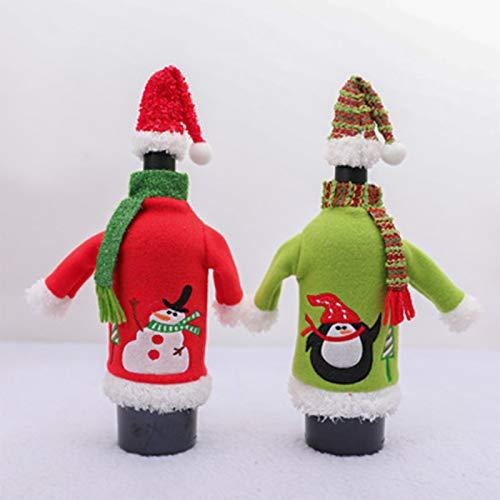 2 Set Natale Borsa per Bottiglia di Vino Pupazzo di Neve Pinguino Involucro della Copertura della Bottiglia di Vino Decorazioni per la Tavola da Pranzo Decorazioni per Feste di Natale