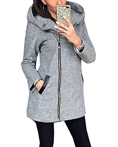 Onsoyours Damen Sweatjacke Ladies Sweat Parka Lange Kapuzenjacke im Stil eines Zip Hoodie Outwear Kapuzenpullover Herbst Winter Grau 48