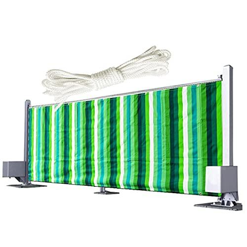 YUDEYU Balcón Patio Valla Pantalla de privacidad Tejido de poliéster Impermeable Proteccion Solar Red de Sombra con Cuerda Tasa de sombreado 95% (Color : Green and White Strips, Size : 0.9x5m)