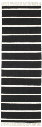 CarpetVista Alfombra Dorri Stripe, 80 x 250 cm, Pasillo, Moderna, Algodón, Corredor, Cocina, Salón, Comedor, Dormitorio, Blanco/Negro