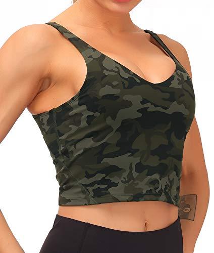 Dragon Fit Sports Bra for Women LonglinePaddedBra YogaCrop Tank TopsFitness Workout Running Top (Small, Army Green Camo)