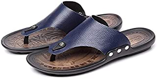 MAN Leather Flip Flop Sandals Slippers Simple Durable High-quality Shoe - 39 Dark Blue