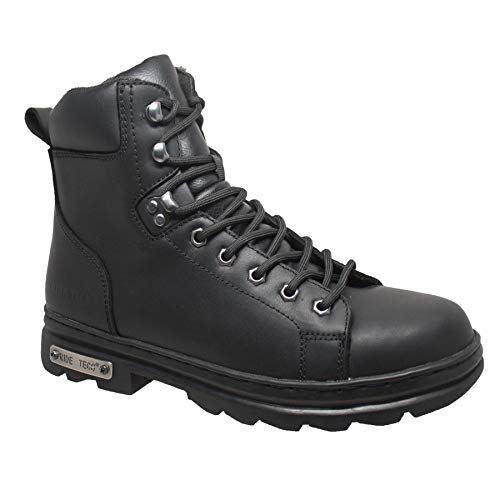 """Ad Tec 6"""" Motorcyle Boots for Men, Oil Reistant Leather with Side Zipper Good Year Welt Construction (Black, Numeric_11)"""