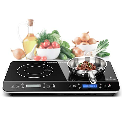 Duxtop 17PC Professional Stainless Steel Induction Cookware Set & LCD Portable Double Induction Cooktop 1800W Digital Electric Countertop Burner Sensor Touch Stove, 9620LS/BT-350DZ