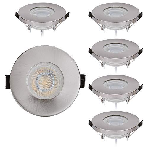 HCFEI 6er Set LED Einbauleuchte IP44 230V 5W Badezimmer LED Strahler Spots Deckenlampe Einbaulampen Warmweiß 3000K