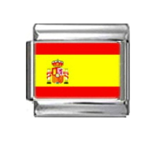 Stylysh Charms Spain Spanish Flag Photo Italian 9mm Link PC164 Fits Nomination Classic