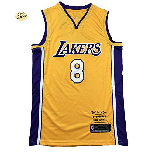 Los Angeles Lakers Basketball-Trikot, Bryant Retired Version Jersey, atmungsaktives Netzgewebe, verschleißfest, Uniform, Fitness, Sport, Wettkampf-Weste (S-2XL) M Gelb 8