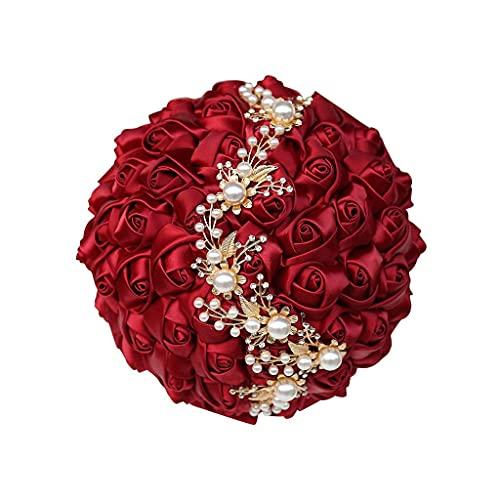 Sgxiyue Hecho a Mano Boda Ramo de Perlas Broche Bouquet Accesorios de Boda Ramo Flores de Boda Ramos de Dama de Honor Nupcial (Size : 24CM)