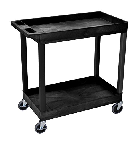 Luxor 32' x 18' Tub Storage Cart 2 Shelves - Black, (EC11-B)
