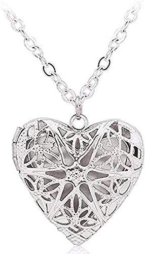 NC66 Collar de medallón en Forma de corazón Hueco Collar difusor de Aceite Esencial Collares de Filigrana de Perfume Hueco Accesorios de joyería para Mujer