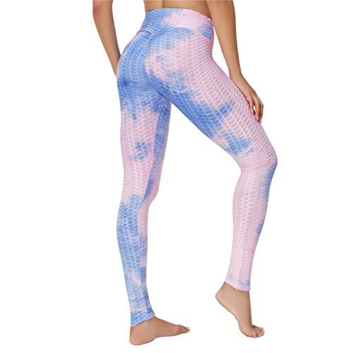 Leggings de Mujer para Mallas de Fitness Legging Sport Wear Leggins Sexy Workout Push Up Blue Pink M