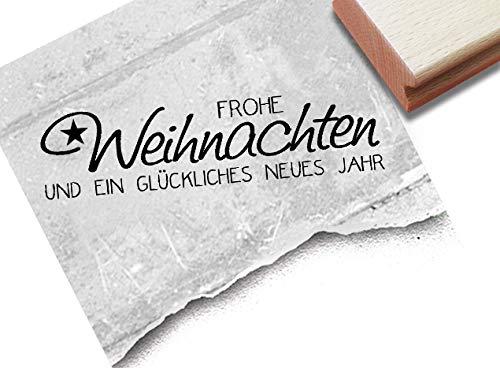 Stempel Weihnachtsstempel - Frohe Weihnachten und EIN glückliches neues Jahr - Textstempel Karten Geschenkanhänger Deko Geschenk - zAcheR-fineT