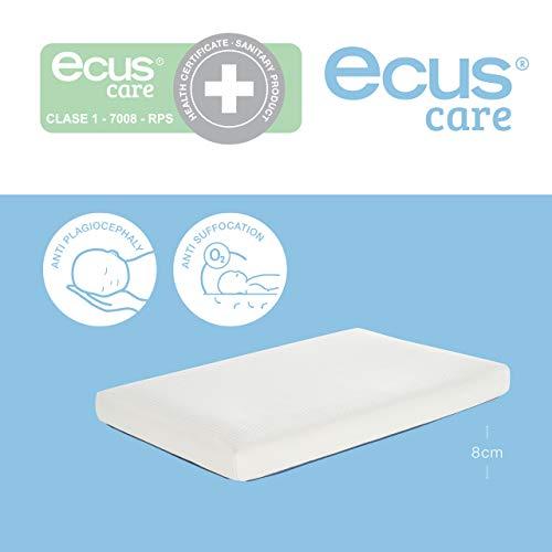 Ecus Care, 80cm x 50cm, colchón de minicuna anti plagiocefalia