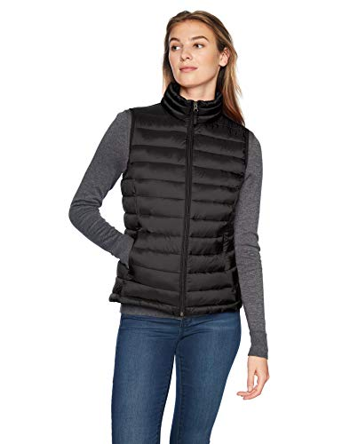 Amazon Essentials Women's Lightweight Water-Resistant Packable Puffer Vest, Black, Medium