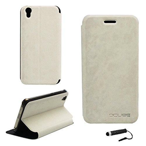 Ycloud Tasche für UMIDIGI London Hülle, PU Ledertasche Metal Smartphone Flip Cover Hülle Handyhülle mit Stand Function Weiß