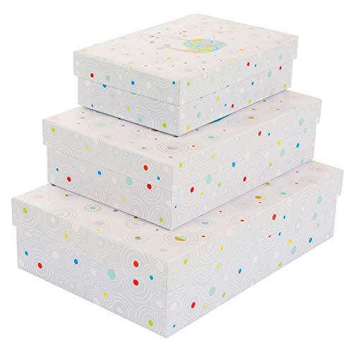 goldbuch 85 464 - geschenkkartonagen Set 3-teilig Turnowsky Design Whale Serenity, Set mit 3 geschenkboxen in verschiedenen größen, 3 geschenkkartons mit Kunstdruck, goldprägung und Relief