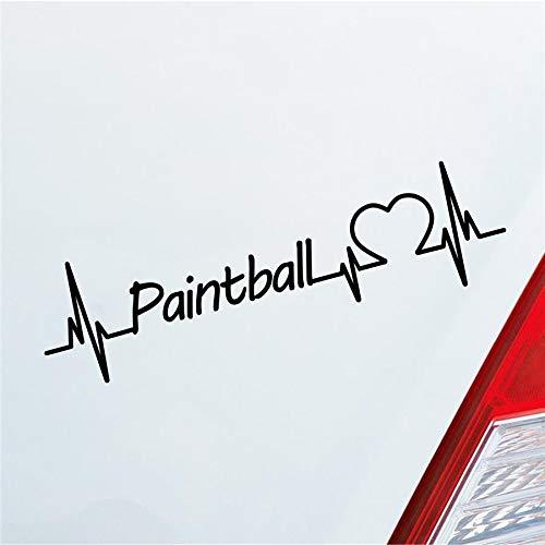 Hellweg Druckerei Auto Aufkleber Paintball Herzschlag Schießen Team Wettkampft Sport Sticker Liebe Schwarz Matt