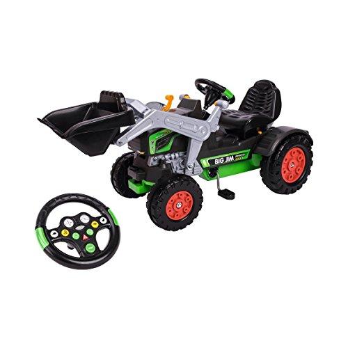 BIG - Jim Turbo - Trettraktor mit Soundlenkrad, inklusive BIG-Tractor-Sound-Wheel, Schaufel bis zu 3 kg belastbar, Traktor für Kinder ab 3 Jahren
