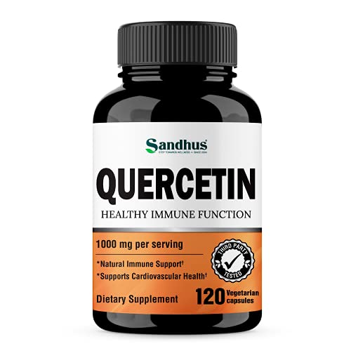 Quercetin 1000mg Per Serving Vegetarian Capsules Bioflavonoids Supports Immune Health & Cardiovascular Health, Respiratory Health, Seasonal Allergy Relief 120 Count